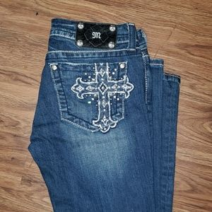 MISS ME CROSS BOOT CUT BLUE JEANS